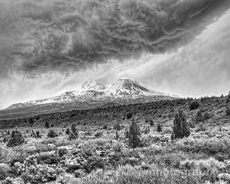 Mount Shasta With Storm Clouds